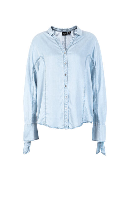 ONLY Women's 2019 Spring V Neckline Loose Fit Striped Lace-up Shirt |118162503, Blue Gray, large