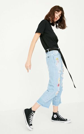 ONLY Summer New Women's Frayed Raw-edge Jeans|117249504