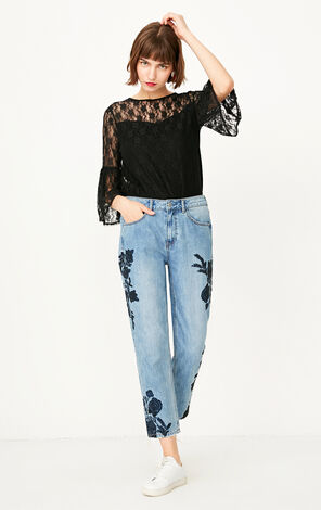ONLY summer New Women's Loose Fit Lace 3/4 Ruffled Sleeves T-shirt|117330529