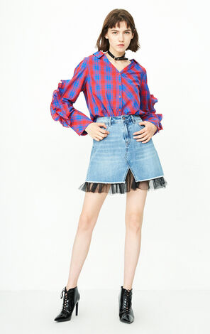 Only Women's 100% Cotton Lace-up Ruffled Plaid Shirt |118105536