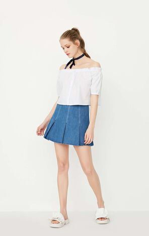 ONLY Women's Spring Spring Pleated Ruffled High-rise Denim Skirt|117237528