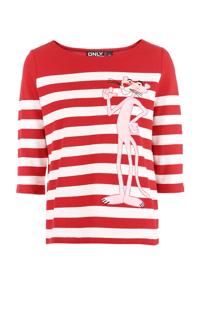 ONLY 2019 Women's Winter Pink Panther T-shirt |118130516, Red, large