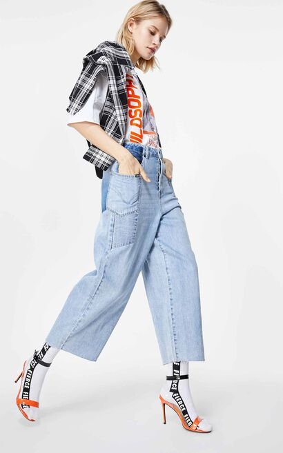 ONLY 2019 AutumnWomen's Loose Fit High-rise Wide-leg Crop Jeans|119349576, Blue, large