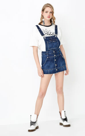 ONLY Summer New Women's 100% Cotton Single-breasted Denim Overalls|11727N509