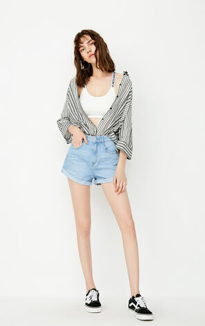 ONLY Women's Summer Loose Fit Straight Raw-edge Denim Shorts |117343521