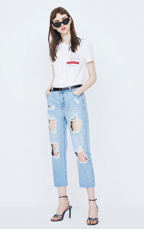 ONLY Women's Summer Straight Fit Ripped BF Style Crop Jeans |118149620