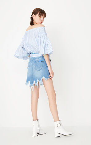 ONLY summer new style shoulder off shoulder top chiffon shirt women | 117341508