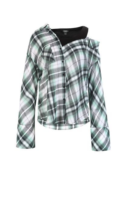ONLY 2019 Women's Checked Flare Sleeves False Two Pieces Shirt |118151510, Green, large