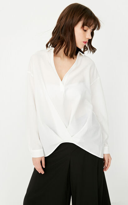 ONLY summer new style V-neck short front and back long loose chiffon shirt women | 117351501, White, large