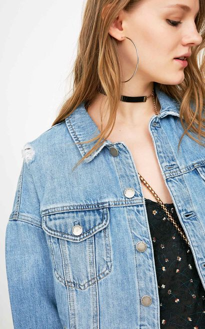 ONLY 2018 Women's Summer Raw-edge Ripped Short Denim Jacket |118154515, Blue, large