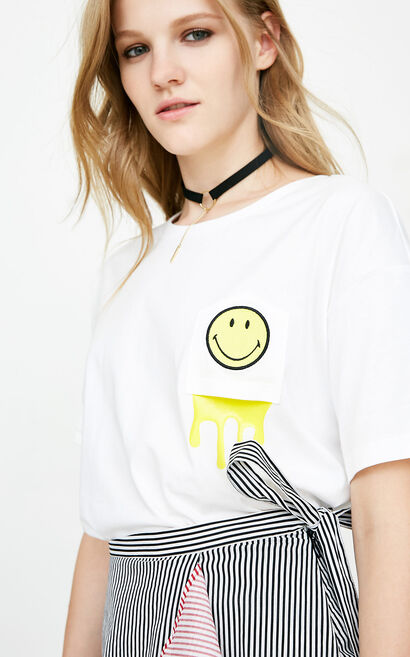 ONLY Women's Summer 100% Cotton Letter & Smiling Face Print Loose Fit T-shirt |118201525, White, large
