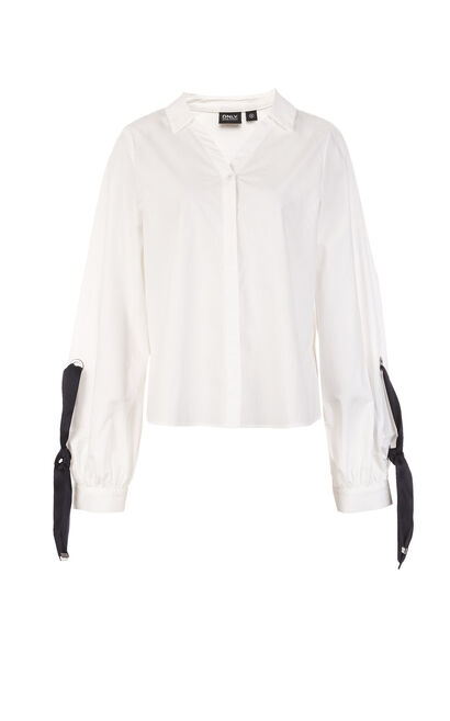 ONLY 2019 Women's 100% Cotton Lace-up Striped Loose Fit Shirt |118105541, White, large