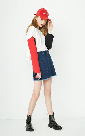 ONLY Women's Spring & Summer Spliced Loose Fit Long-sleeved Print T-shirt |118102512