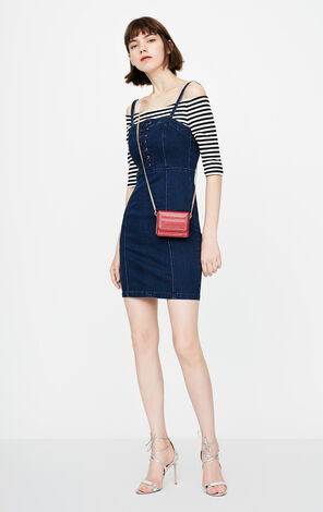 ONLY Lace-up Two-piece Denim Dress|118242507