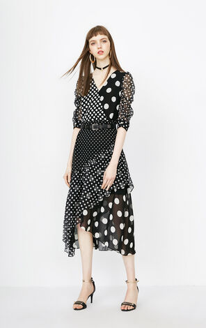 ONLY Summer V-neckline Polka Dot Chiffon Dress |118107680