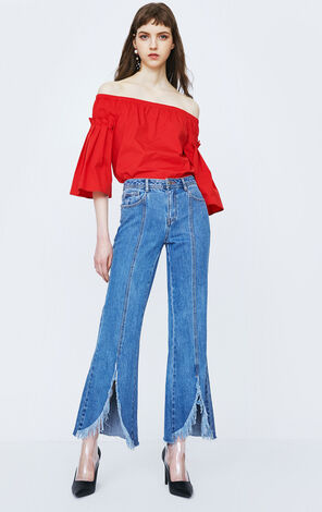 ONLY Women's Spring & Summer Split Raw-edge Low-rise Flared Jeans |118132555