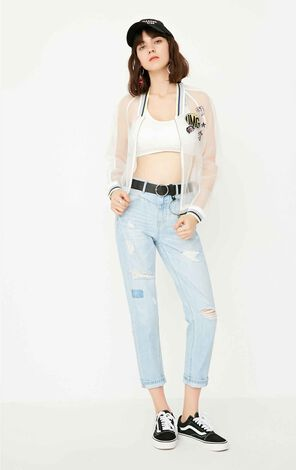 ONLY Women's Summer Frayed Low-rise BF Style Crop Jeans |117249531
