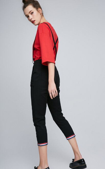 ONLY Spring New Women's Slim Fit Crop Overalls |117150523, Black, large