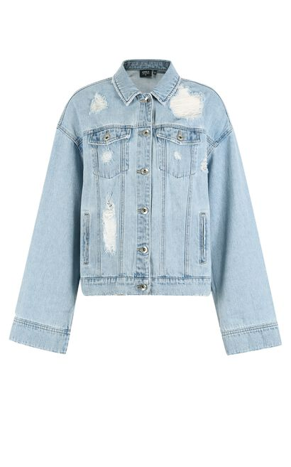 ONLY Women's Summer Frayed Raw-edge Long-sleeved Denim Jacket |117354502, Light blue, large