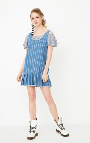 2019 ONLY women's spring new pleated stitching denim dress | 117242514