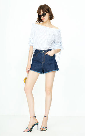ONLY 2018 summer women's  new style boat-necl tie cotton shirt | 118351501