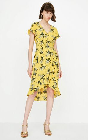 ONLY Spring Summer New V-neckline Cinched Waist Lace-up Floral Dress|118207567