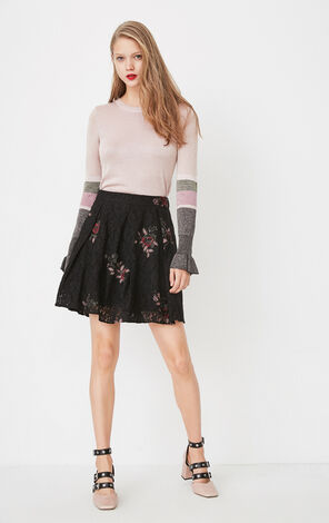 ONLY 2019 Lace Embroidered A-line Skirt |118116506
