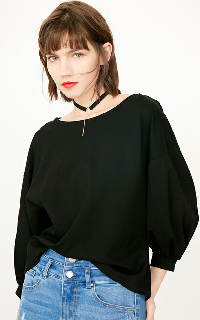 ONLY 2019 Women's Summer 3/4 Sleeves Pure Color Loose Gathered T-shirt |118130518, Black, large