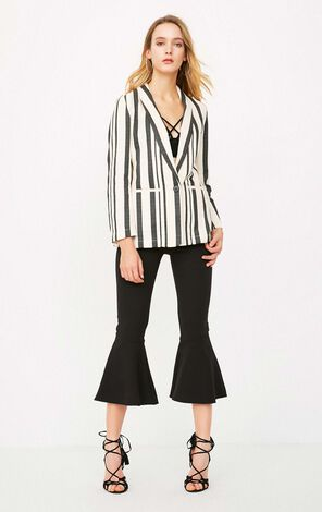 ONLY Women's Spring Loose Fit One-button Striped Suit Jacket |118108542
