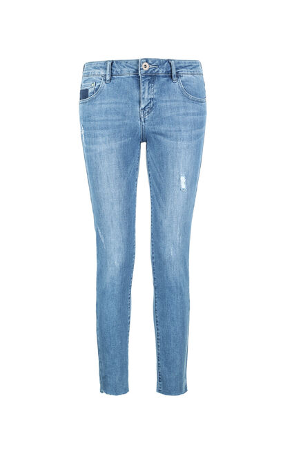 ONLY Women's Spring Frayed Raw-edge Slim Fit Tight-leg Jeans |117249503, Blue, large