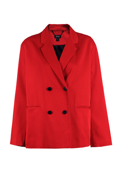 ONLY Women's 2019 Spring Double-breasted Pure Color Loose Fit Suit |118108525, Red, large
