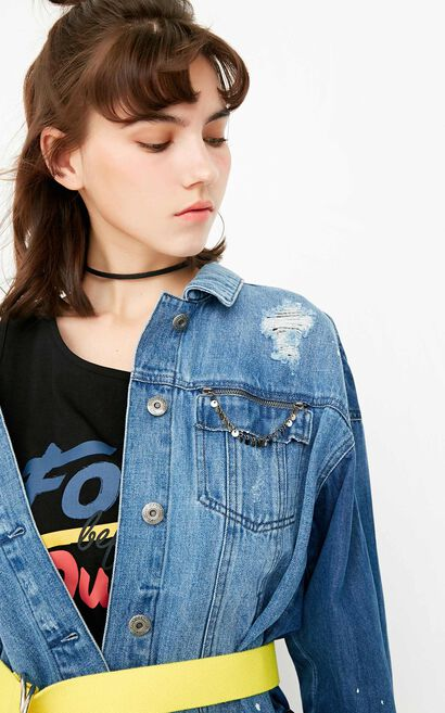ONLY autumn new style two-piece long-sleeved denim jacket women with raw edges | 117354506, Blue, large