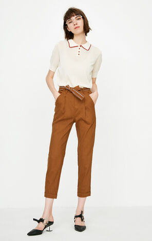 ONLY Autumn Women's Pure Color Linen Tight-leg Crop Pants|118350501