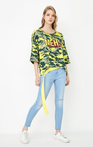 ONLY spring New Women's Letters Rolled Cuffs T-shirt|117230547