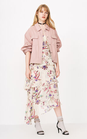 ONLY Women's 2019 Spring 100% Cotton Letter Print Lace-up Loose Fit Coat |118136546