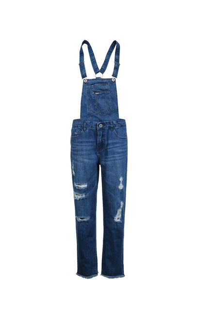 ONLY Women's Summer Rip BF Style Crop Denim Overalls |11737L503, Blue, large
