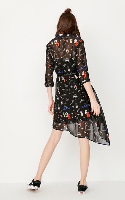 ONLY Summer Printed Two-piece Loose Chiffon Dress |117307530, Black, large