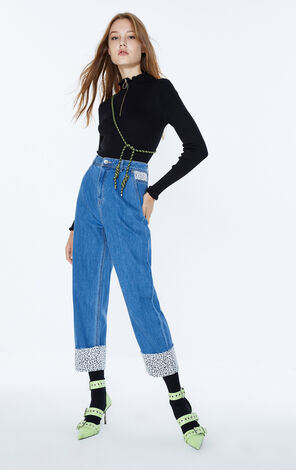 ONLY 2019 AutumnWomen's Loose Straight Fit High-rise Leopard Print Jeans|119349562