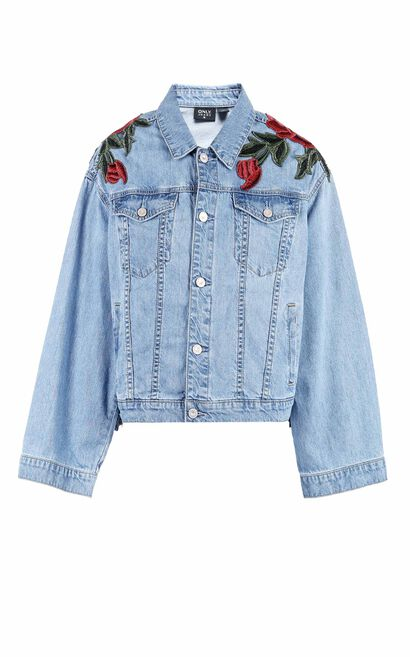 ONLY2019 women's summer new flower embroidery loose denim jacket | 118154512, Light blue, large