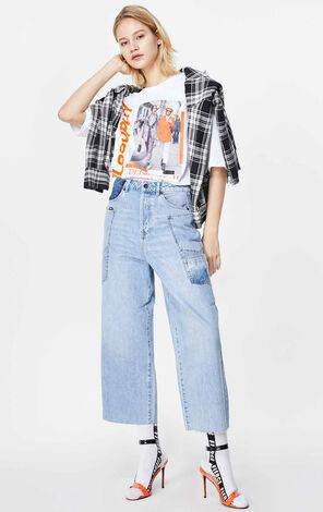 ONLY 2019 AutumnWomen's Loose Fit High-rise Wide-leg Crop Jeans|119349576
