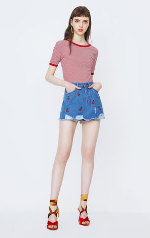 ONLY2019 women's summer new embroidered frayed edge denim short cullotes | 118143504