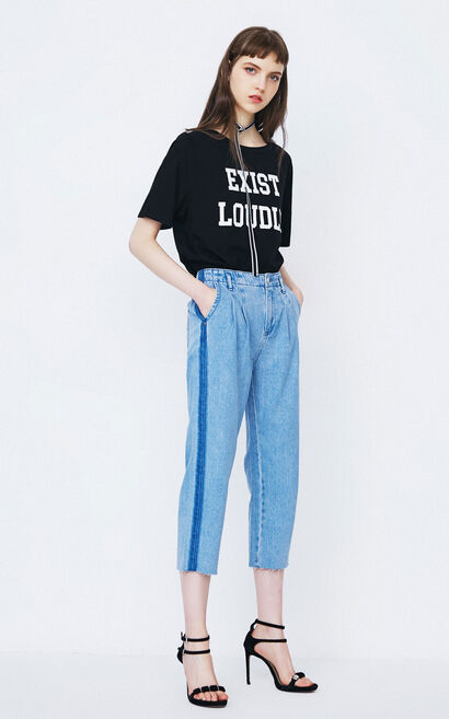 ONLY early autumn new product offset printing zipper hollow sleeve loose sweater female | 11739S542, Blue, large