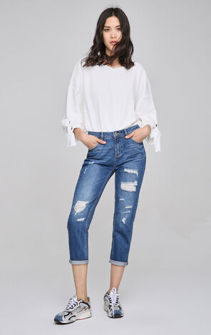 ONLY Women's Rip BF Style Slim Fit Crop Jeans |117149562