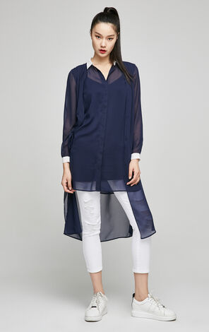 ONLY2019 Spring New Women's Low-high Mid-length Chiffon Shirt|117131506