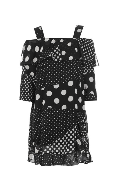 ONLY Spring & Summer Off-the-shoulder Polka Dot Chiffon Dress |118107626, Black, large