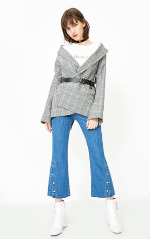 ONLY2019 women's spring new slit flared jeans | 118149622