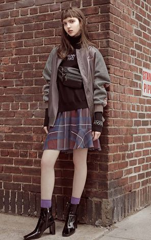 ONLY 2018 autumn new loose letter embroidery check coat | 118336564