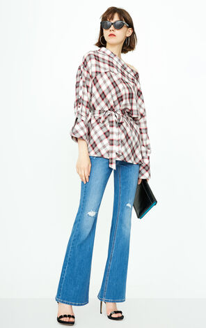 ONLY 2018 summer women's  new style vintage plaid lace shirt | 118351503