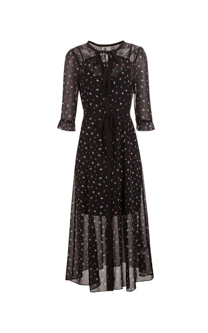 ONLY Summer Floral Lace Chiffon Dress |117307563, Black, large