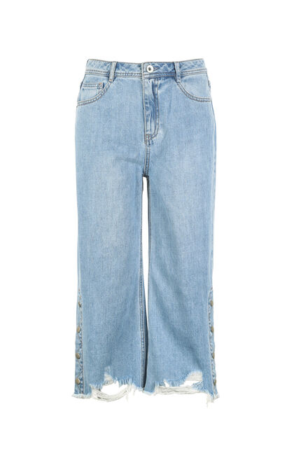 ONLY Women's Spring Raw-edge Buttoned Wide-leg Capri Jeans |117235505, Aqua, large